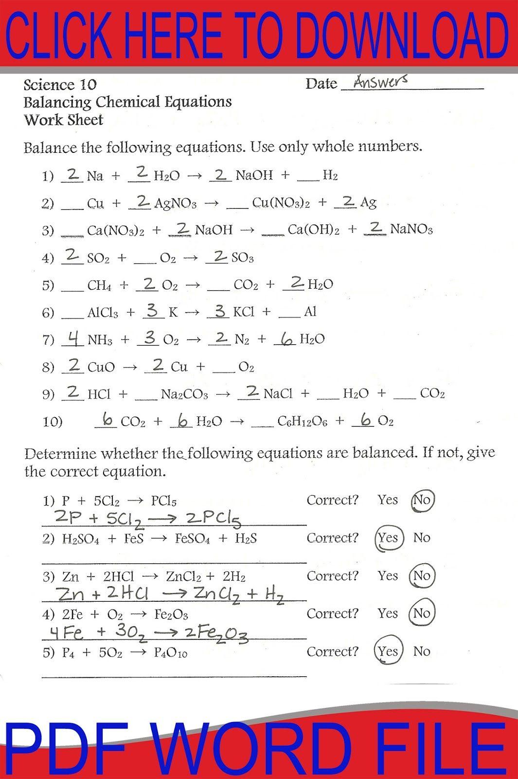 Balancing Equations Worksheet workouts Pinterest