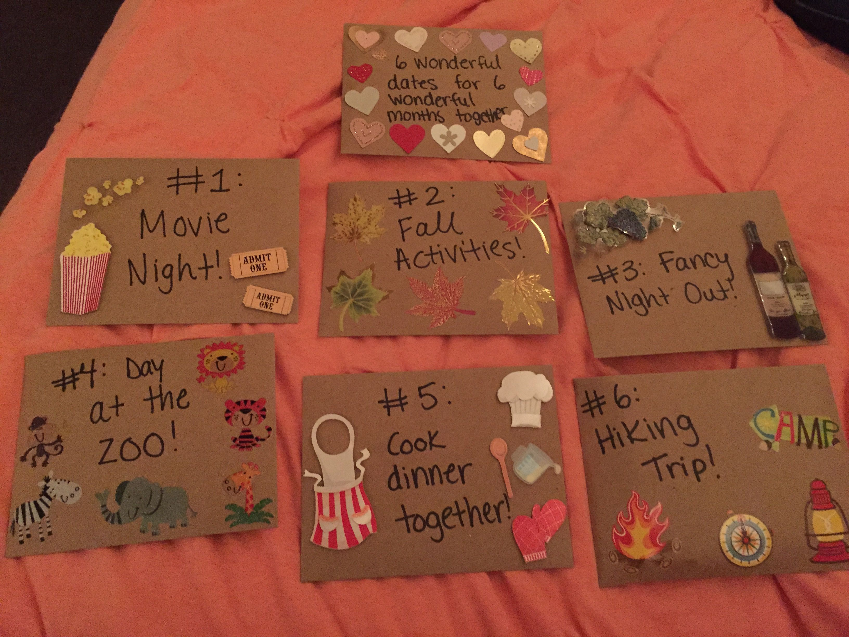 6 Month Anniversary Gift For My Boyfriend 6 Dates For 6 Wonderful Months 6 Month Anniversary Dating Anniversary Gifts Anniversary Boyfriend