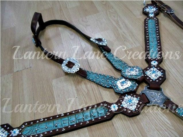 Antique turquoise croc custom tack set  inlaid breast collar  Large square silverberry conchos with turquoise cabachons