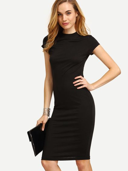 Black Cap Sleeve Crew Neck Sheath Dress   Outfits   Pinterest 3d584a987303