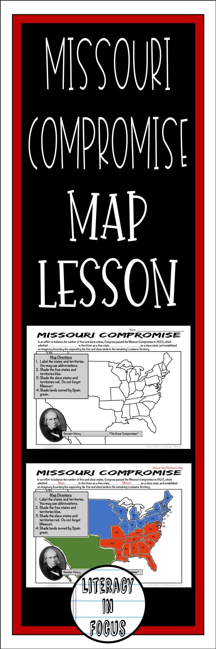 Missouri Compromise Map Lesson Students Learn The Specifics Of The Missouri Compromise Missouric Missouri Compromise Map Activities 7th Grade Social Studies