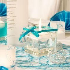 Glaswrfel mit Satinband in Trkis  Tischdekoration