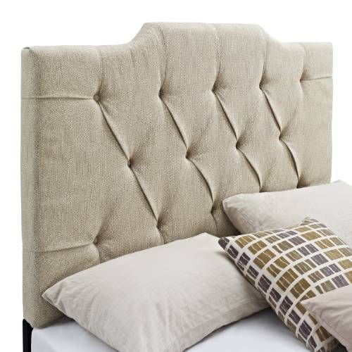 Samuel Lawrence DS 8626 270 Panel Tufted Linen Headboard In Tan For King /