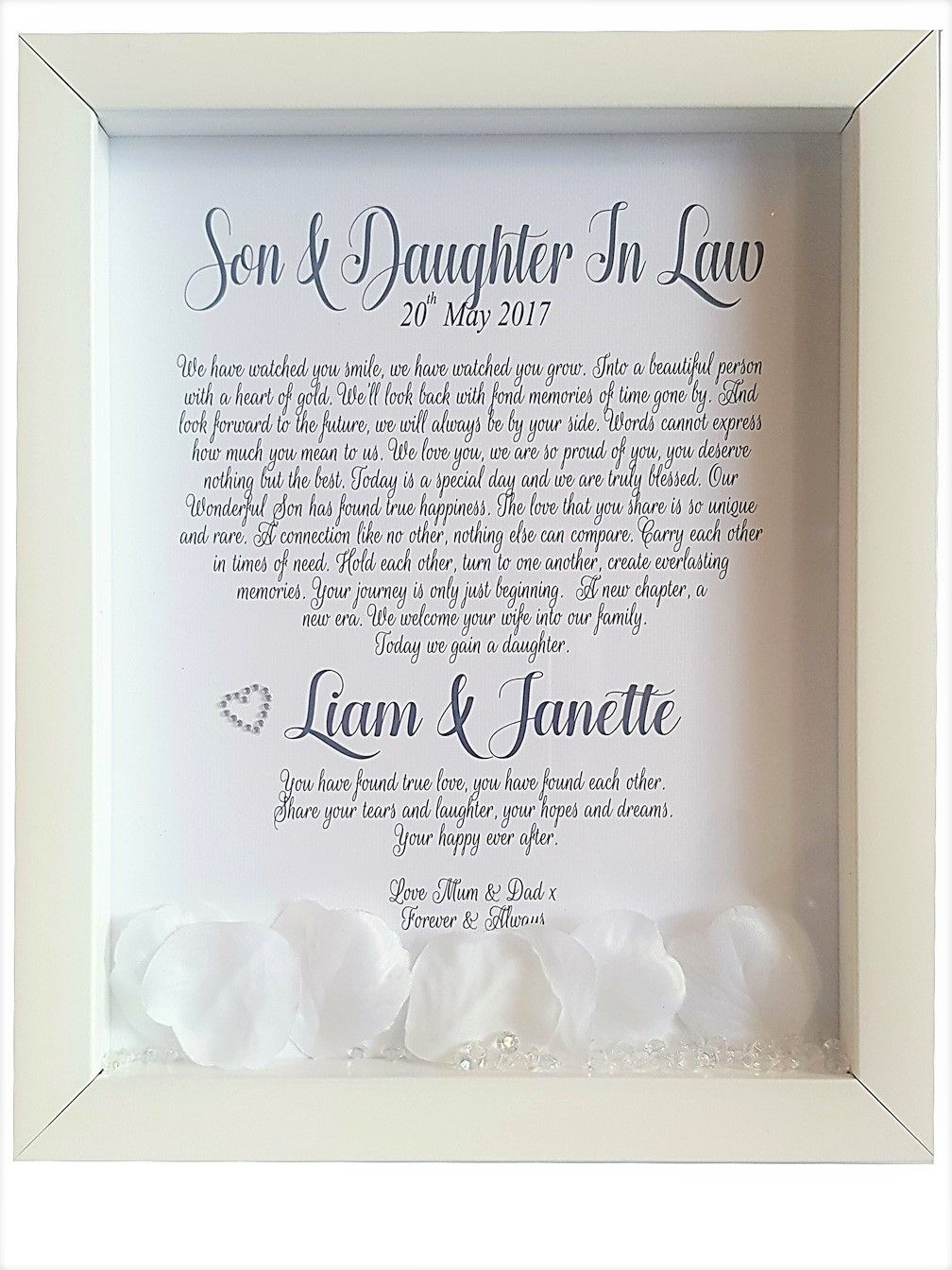 Son & Daughter in Law Framed Poem Wedding poems, Wedding