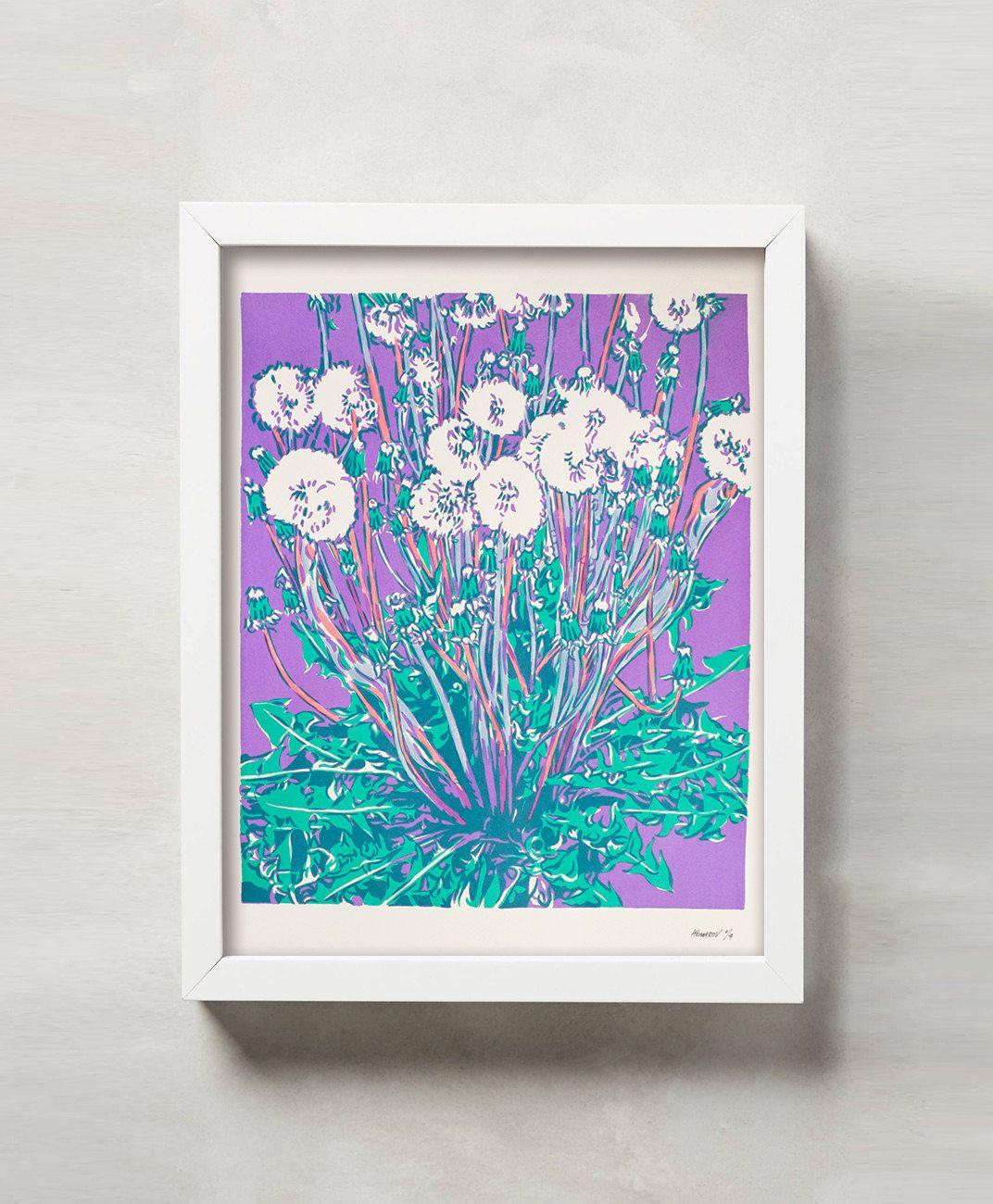 Handmade screen print painting Dandelions in the meadow serigraph ...