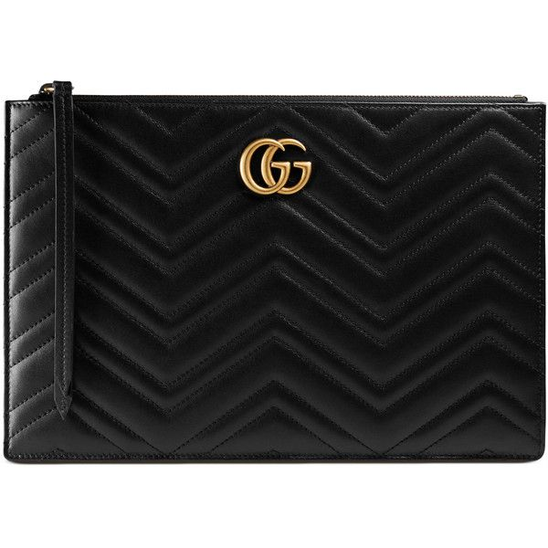 812264076a5d6e Gucci Gg Marmont Matelassé Leather Pouch ($790) ❤ liked on Polyvore  featuring bags, handbags, clutches, black, zipper purse, structured leather  handbags, ...