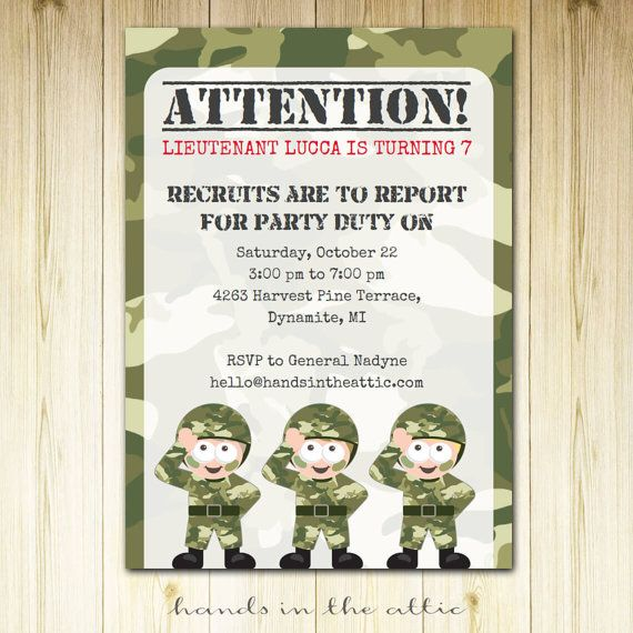 Army theme birthday party camo party camouflage theme military – Military Party Invitations