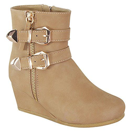 125ad24ffa99 LINK PEGGY-90K Children Girl s Wedge Heel Double Straps High Top Ankle  Booties