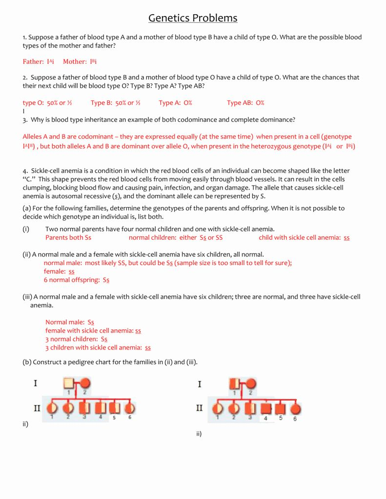 50 Genetics Problems Worksheet Answer Key in 2020 ...