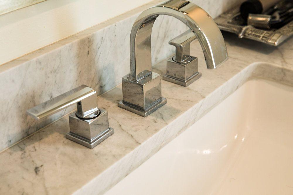 Dueling Vanities Marble Bathroom Floor White Marble Countertops