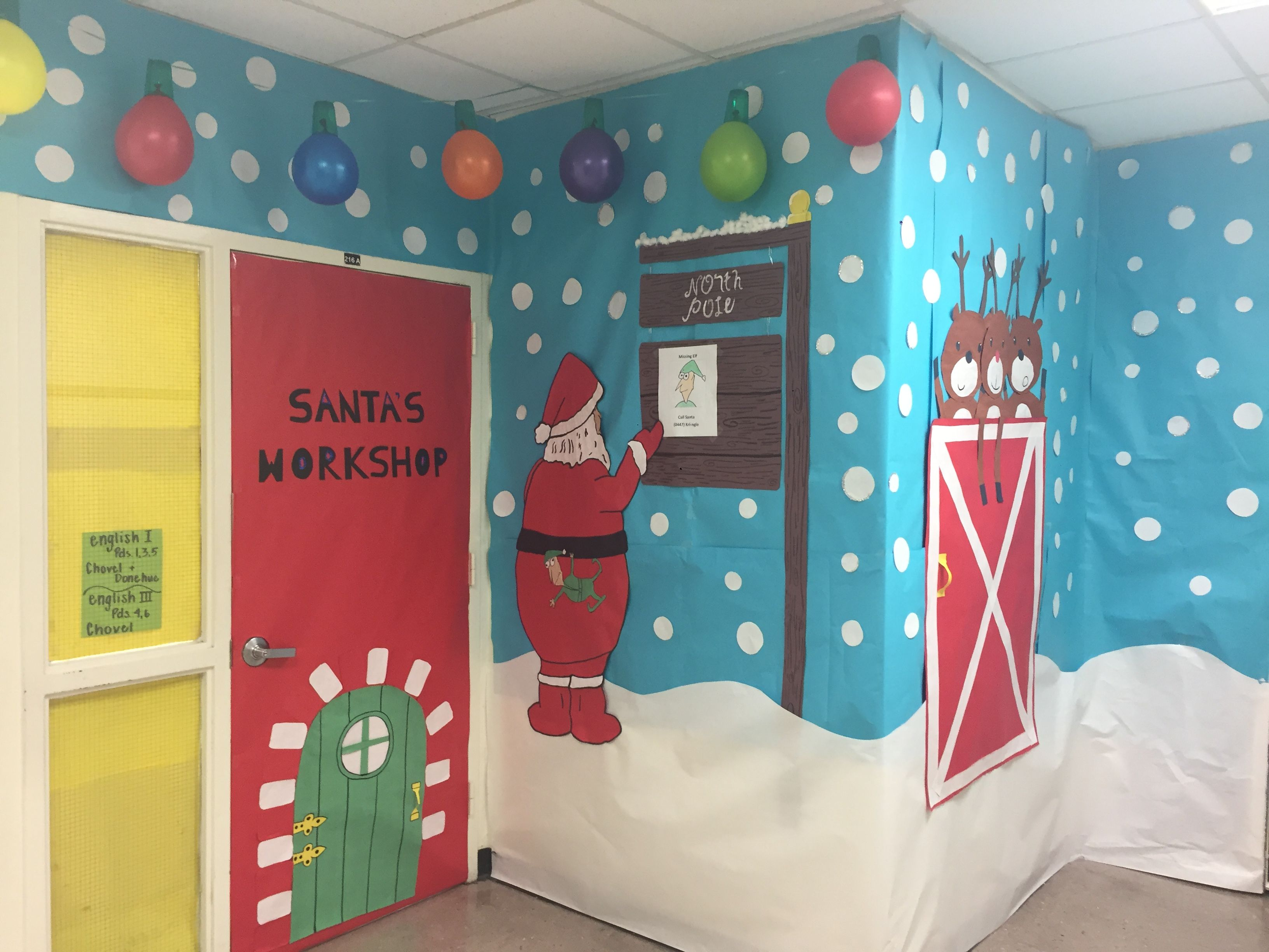 Holiday door decorating contest. Santa's workshop