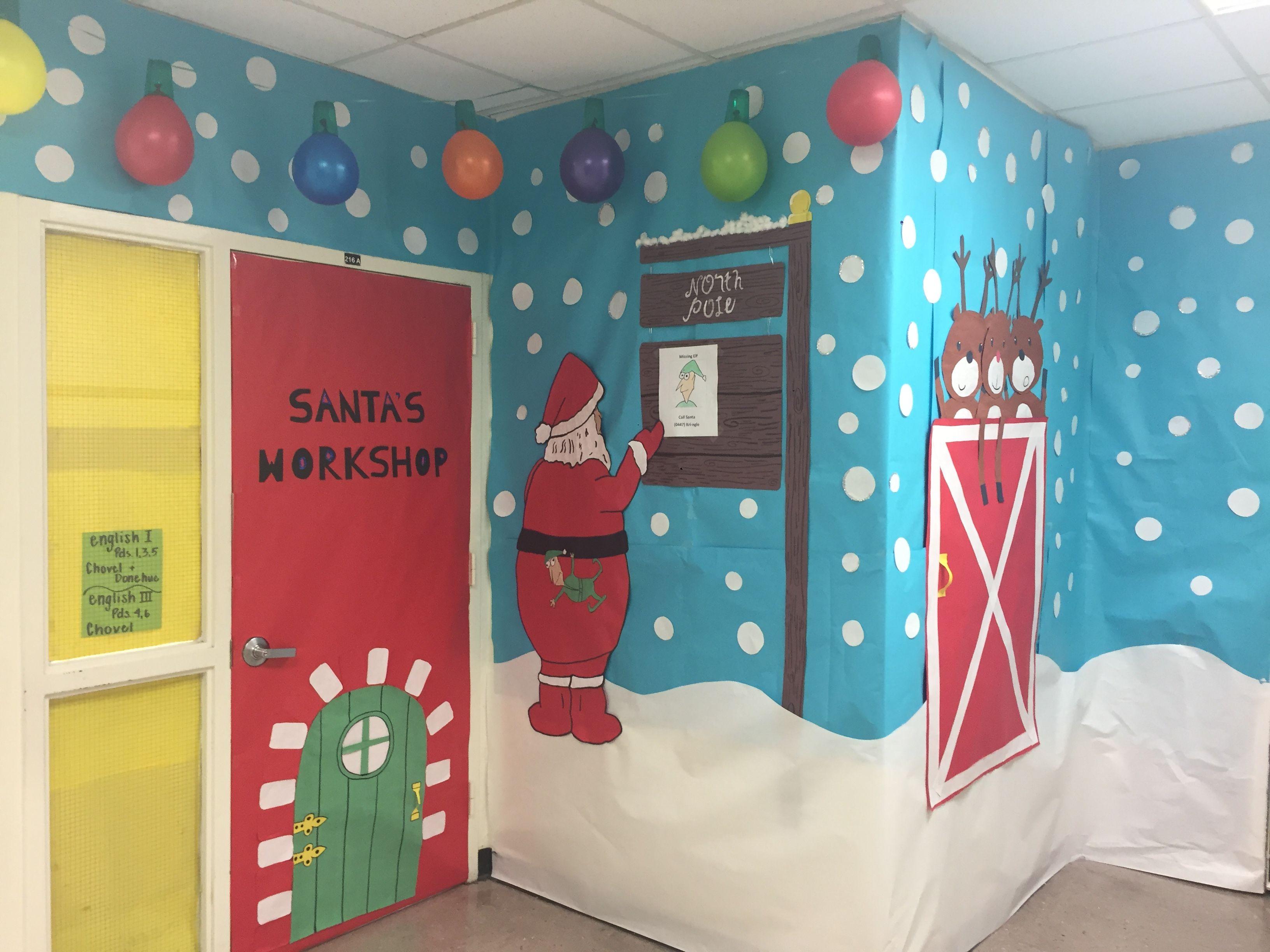 Holiday door decorating contest. Santa's workshop | Door ...