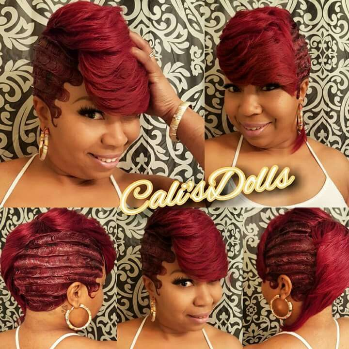 Red Waves Finger Wave Hair Quick Weave Hairstyles 27 Piece