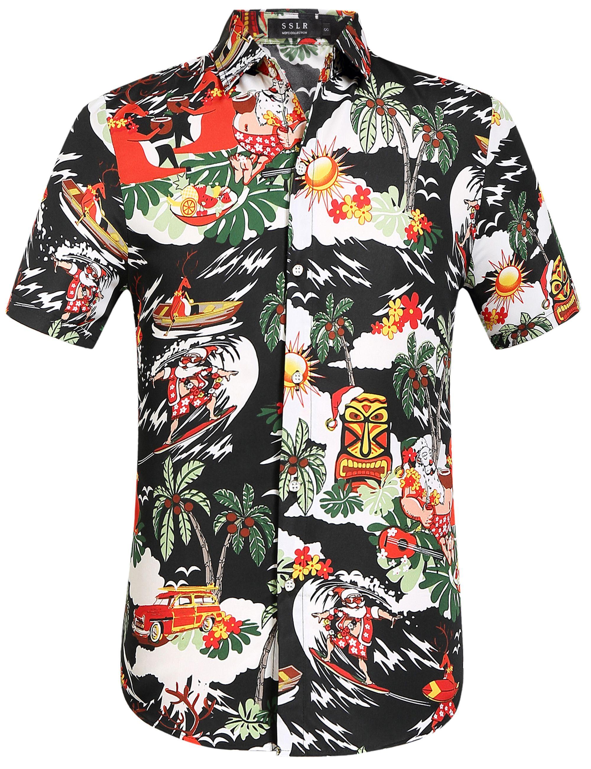 ee3a2983 SSLR Black Men's Christmas Santa Claus Party Casual Tropical Hawaiian Shirt