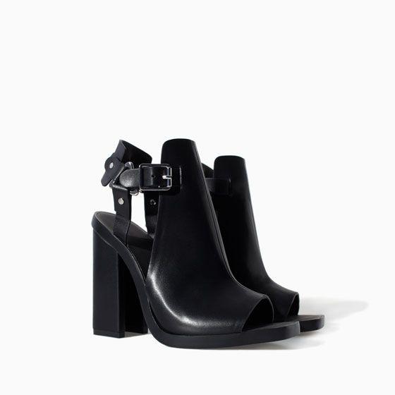 Zara   Black block heel sandals