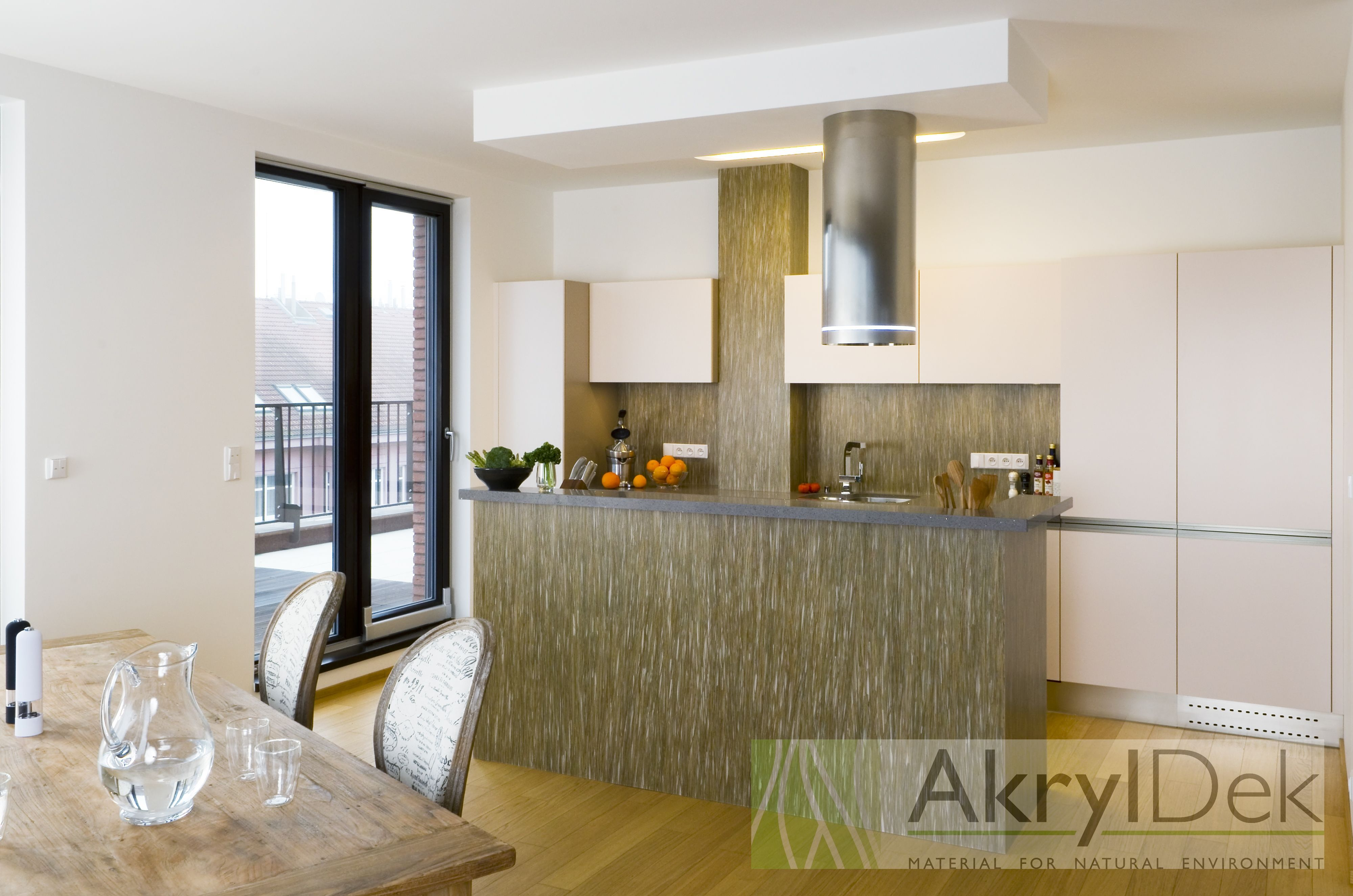 Kitchen Wall Decoration Made Of Resin Panel With Organic Grass