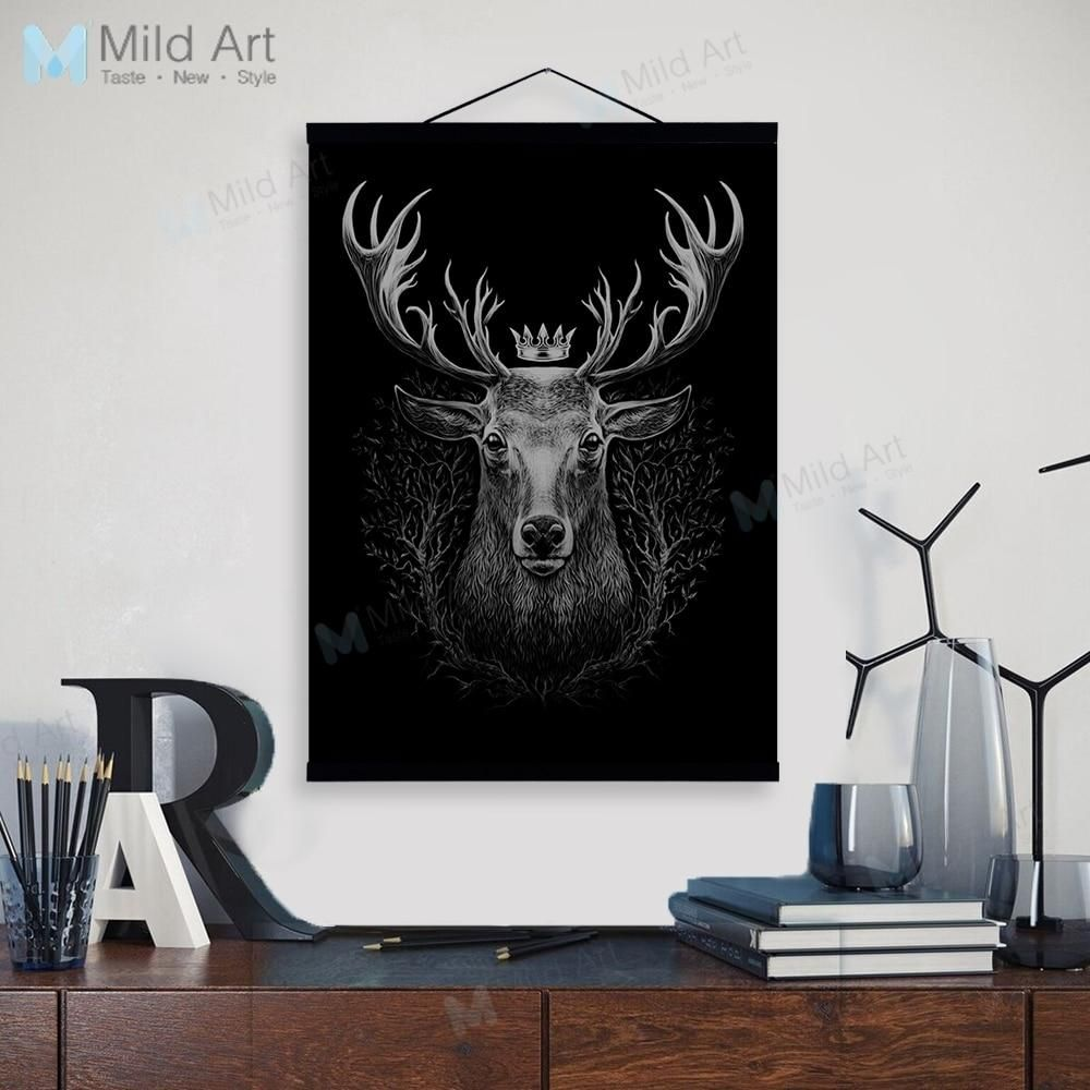 Minimalist Animals Black White Deer Wooden Framed Poster And Print Nordic Scroll Wall Art Pictures Home Decor Canvas Painting Wall Art Pictures Art Wall Art