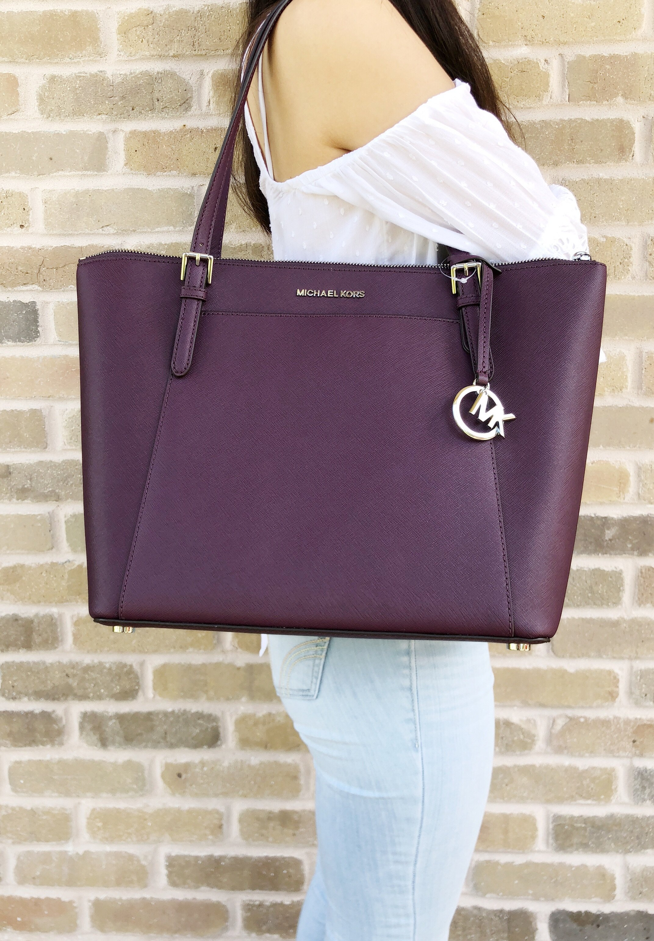 f95ceeb4c1a2ef Michael Kors Ciara Large East West Top Zip Tote Damson Purple Saffiano  #Handbags #MichaelKors #MK