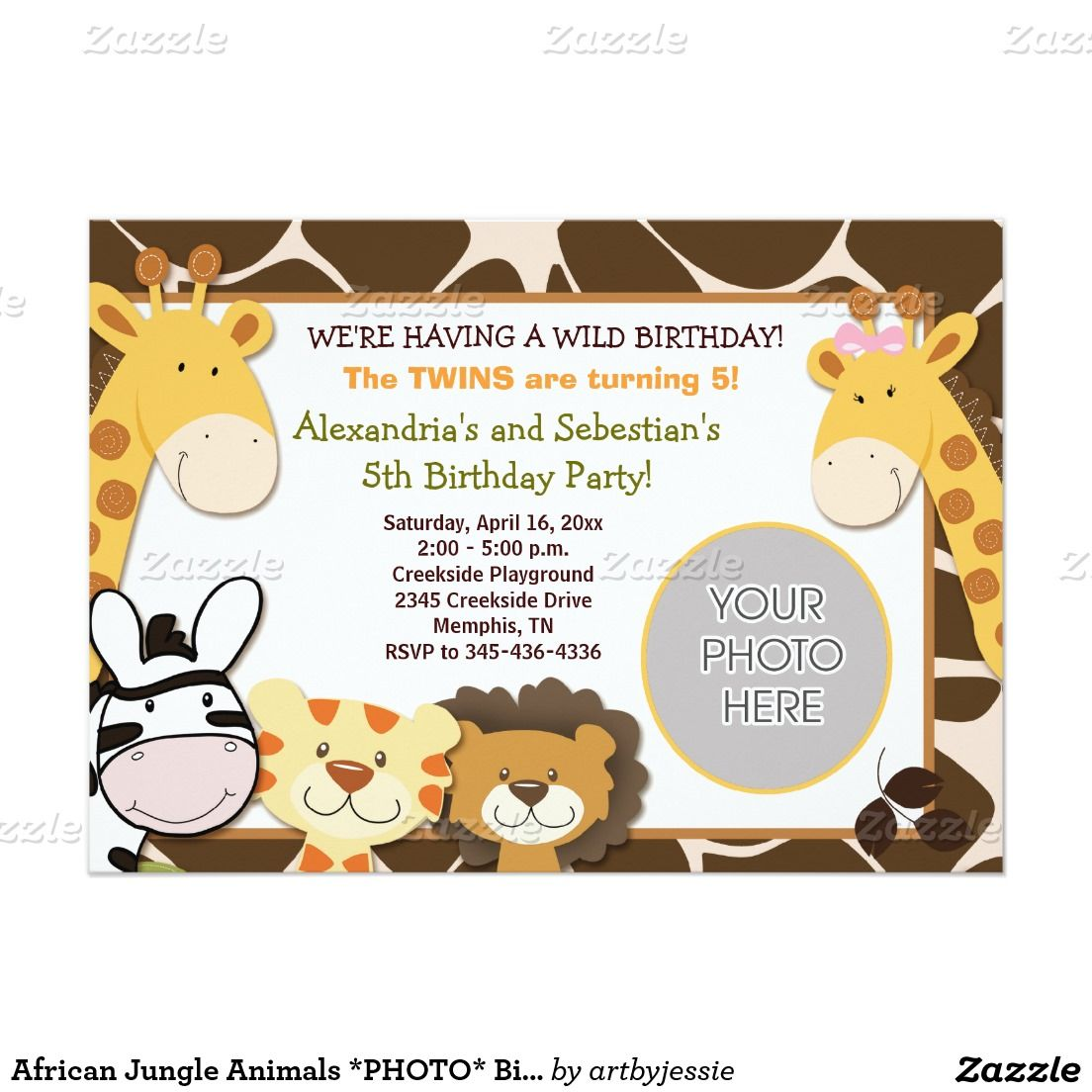 African jungle animals photo birthday 5x7 13 cm x 18 cm african jungle animals photo birthday 5x7 13 cm x 18 cm invitation card stopboris Choice Image