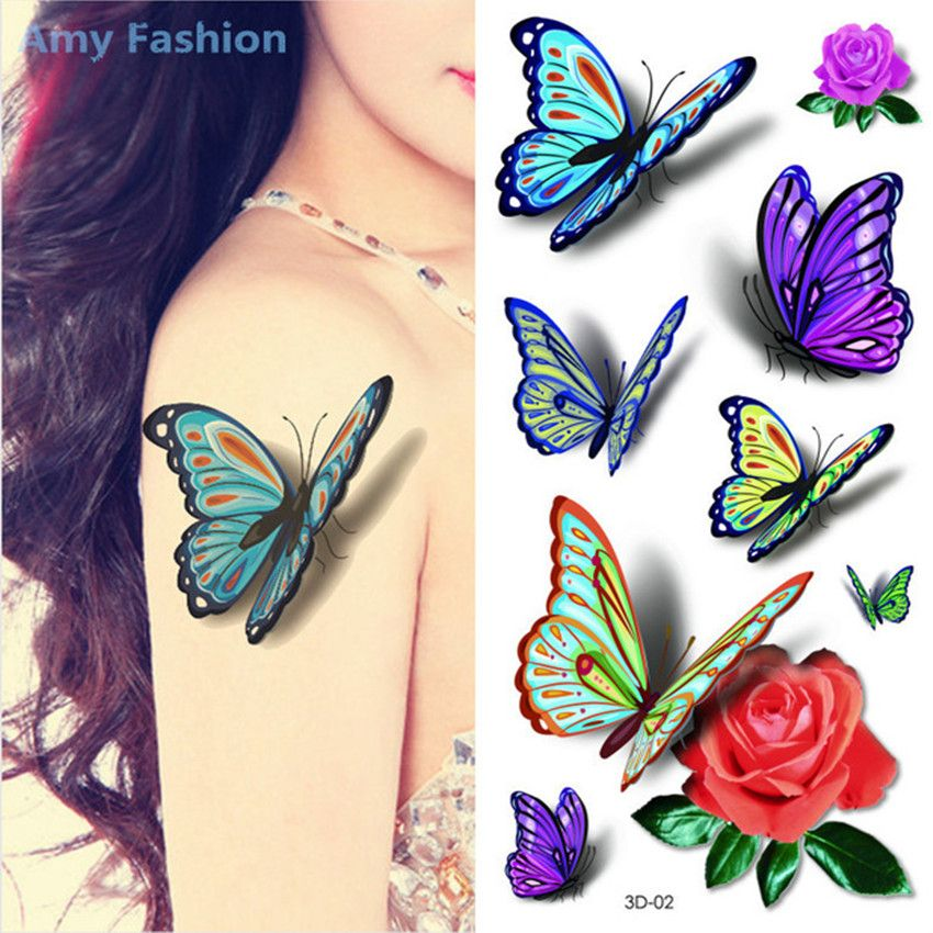 Aliexpress.com : Buy 1Pcs 3D Flower Butterfly Tattoos