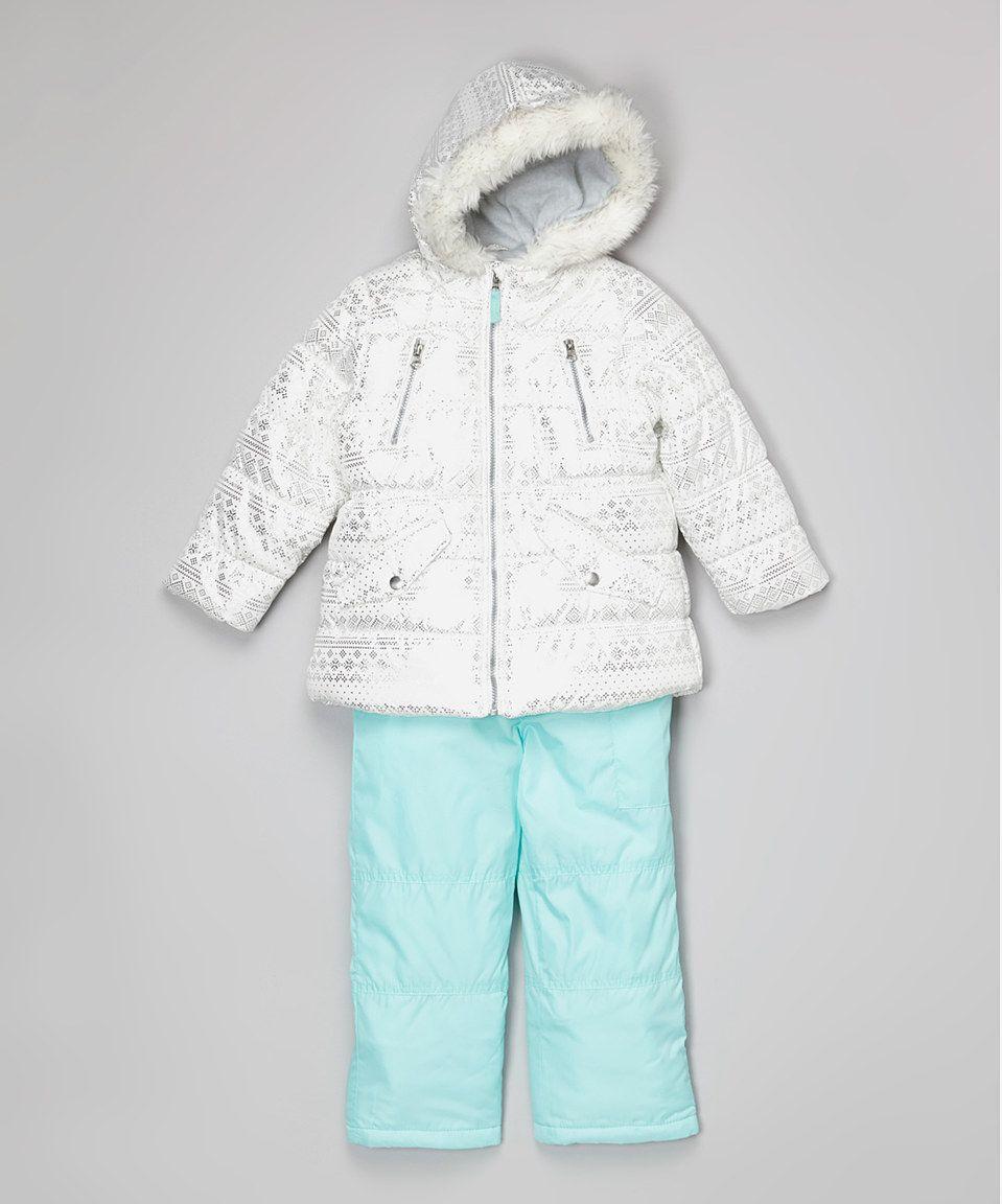 61fd4e93c White & Mint Geometric Ski Bib & Jacket - Toddler by Carter's #zulilyfinds