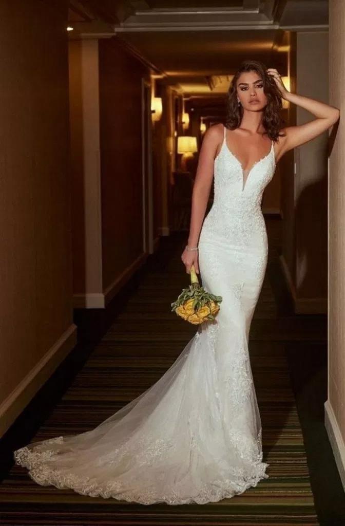 31+ Straps White Mermaid Wedding Dress for Formal Bridal Gown » Fashion Styles …
