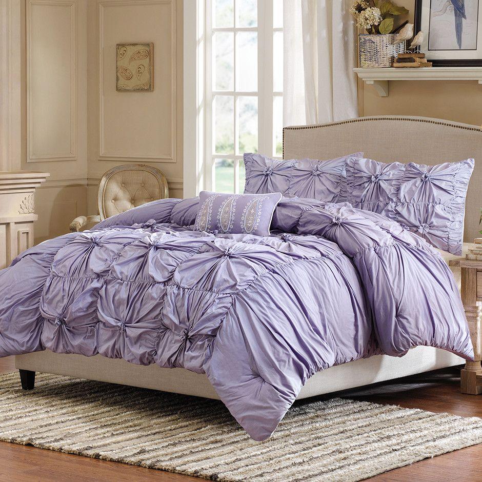 Light Purple Ruffled Bedding Set Purple Bedroom Ideas Purple
