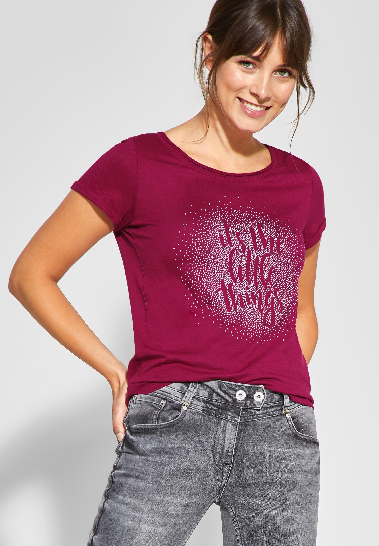 CECIL   Shirt mit Wording und Strass in Mystic Berry   Hemd, Damen ...