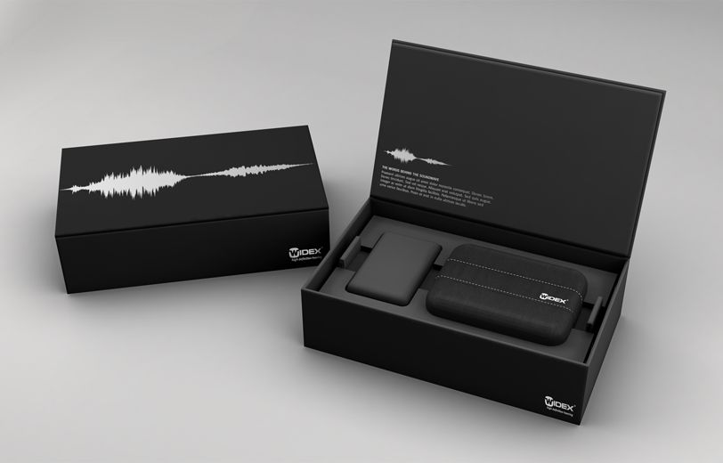 Sleek Product Box With Lid And Sound Graphic