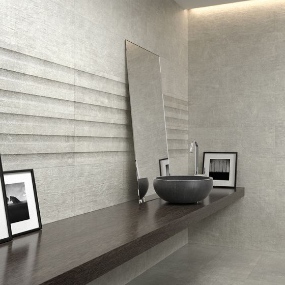 Brooklyn Grey Ceramic Wall 300x900mm Grey Decor Concrete Tiles Bathroom Grey Ceramics