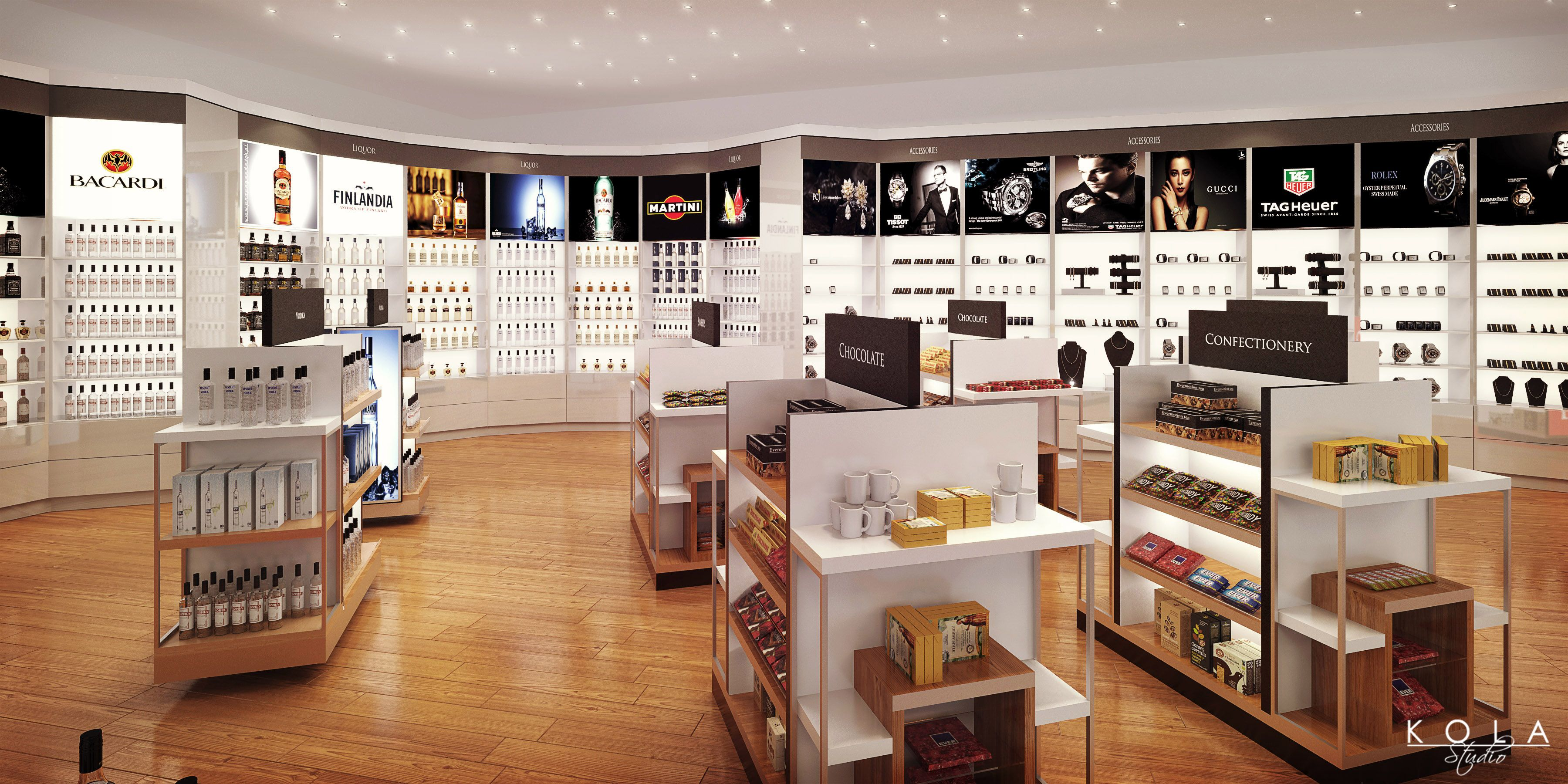 Visualizations Of An Airports Duty Free Shop Design In Pracownia