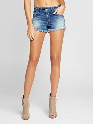10d0832a80 Relaxed Scarlet Cutoff Denim Shorts in Noteworthy Wash at Guess ...
