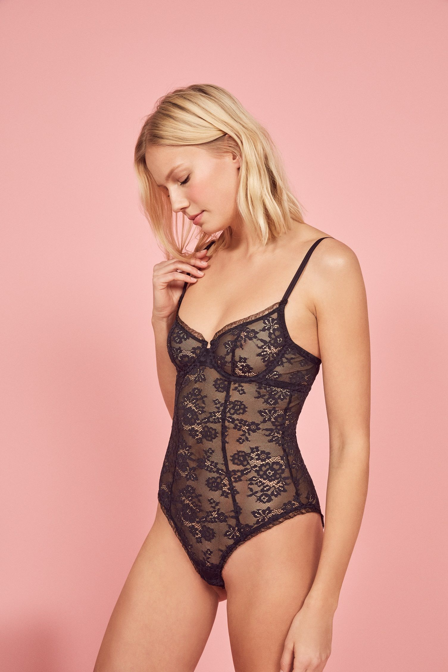 2c3971df374fe Say hi to some new lingerie we made with Cosabella. This is a lace bodysuit