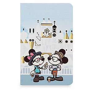 ''Small World Selfies'' Notebook by Jerrod Maruyama | Disney Store WonderGround Gallery artist Jerrod Maruyama celebrates the happiest cruise that ever sailed, <i>''it's a small world''</i>, on the cover of this college-ruled notebook featuring Mickey and Minnie posing as hipster tourists.