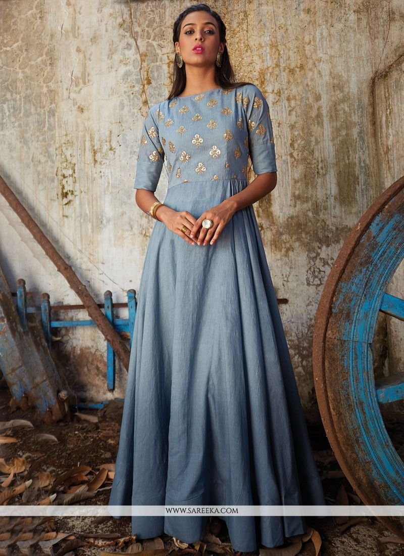 Art silk patch border work floor length anarkali suit floor length