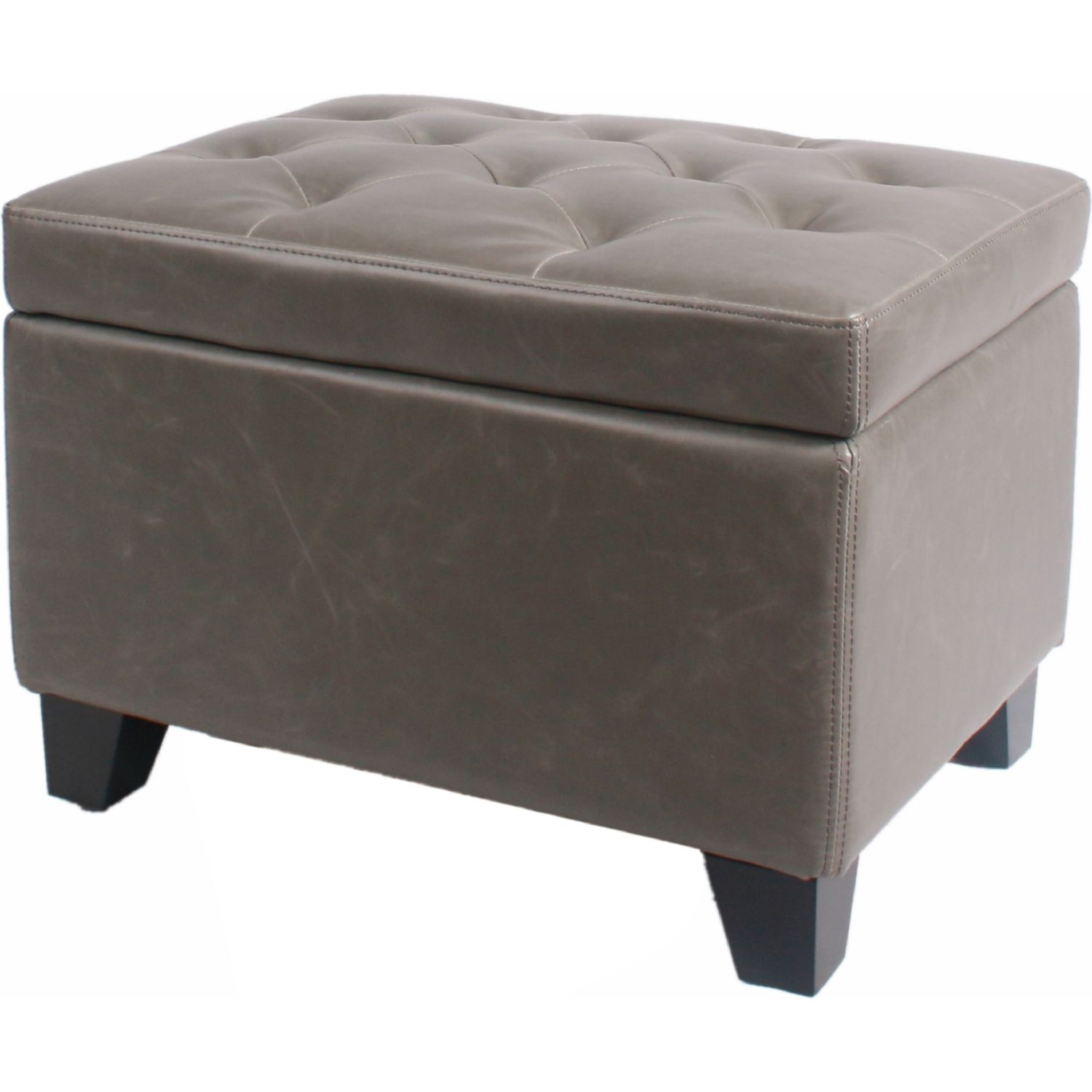 New Pacific Direct 194424b V04 Julian Rectangular Storage Ottoman Vintage Gray Bonded Leather On Drift Wood Legs Ottoman Tufted Storage Ottoman Storage Ottoman Bench