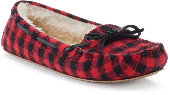 3573126ede386 SO® Women's Buffalo Check Moccasin Slippers in 2019 | Products ...