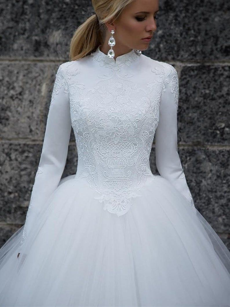 Designer High Neck Long Sleeve Winter Ball Gown Lace Tulle Etsy Ball Gowns Wedding Wedding Dress Long Sleeve Wedding Dresses [ 1059 x 794 Pixel ]