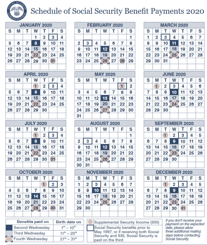 2020 Social Security Payments Schedule When Will You Get Paid The Motley Fool Payment Schedule Social Security Disability Payments