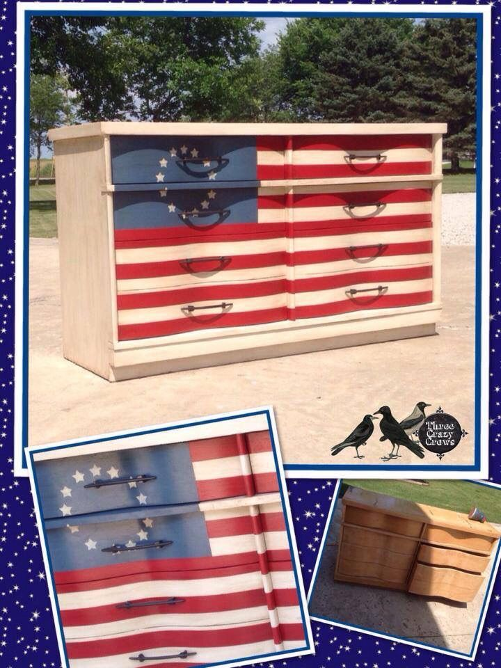 American Flag Painted Dresser