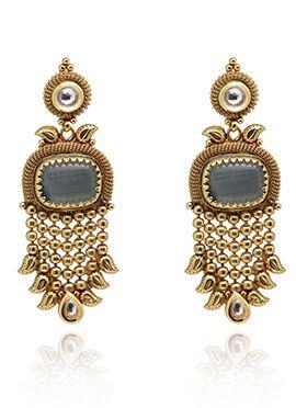 Grey N Gold Colored Dangler Earrings