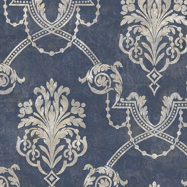 Gray damask navy blue wallpaper double roll bolts blue for Navy blue wallpaper for walls