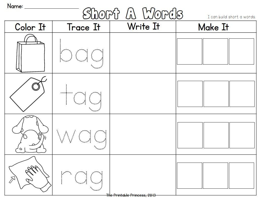 Read It Trace It Make It Short Vowel Cvc Words Cvc Words