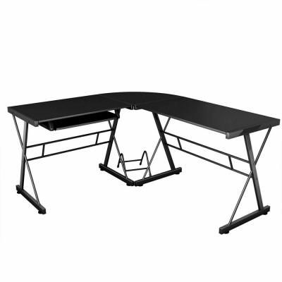 Costway L-Shape Corner Computer Gaming Desk Workstation Wood Steel Laptop with CPU Stand HW51072 - The Home Depot #gamingdesk