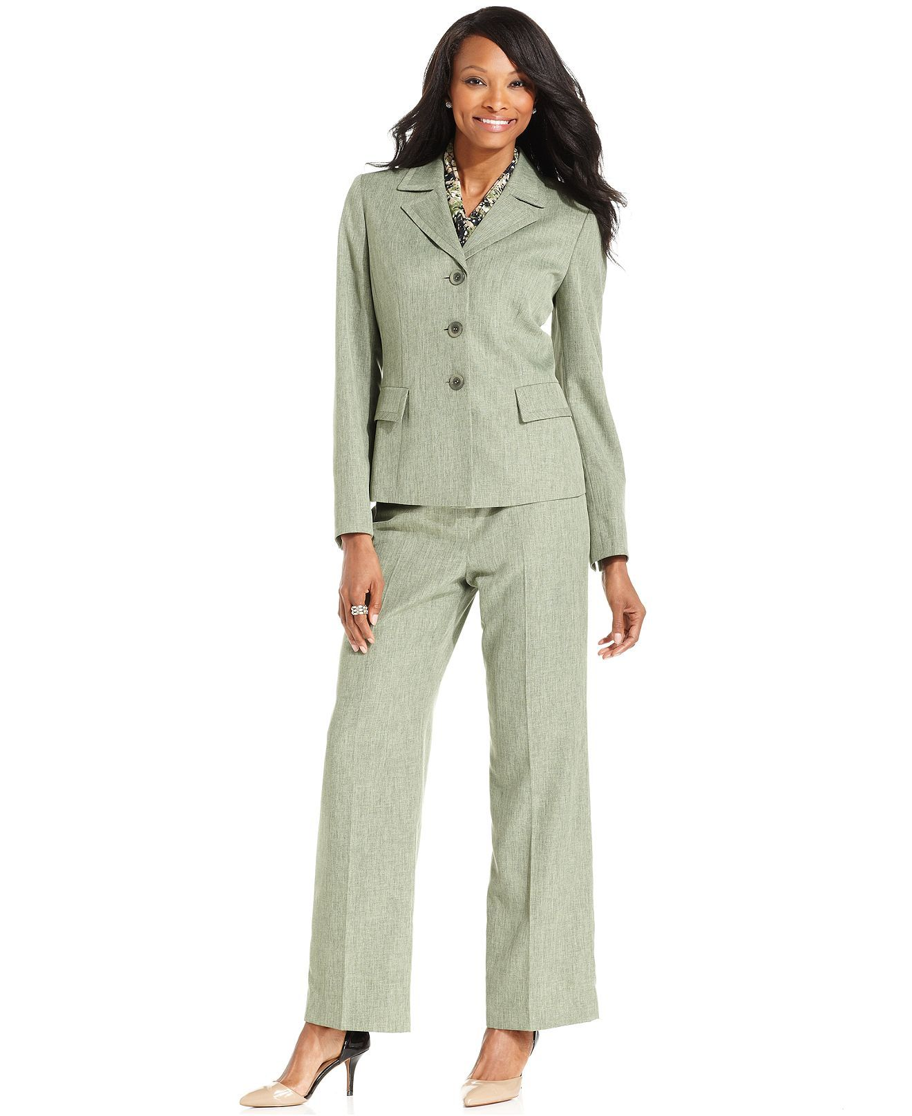 Le Suit Pantsuit Three Button Blazer Scarf Pants Suits Suit
