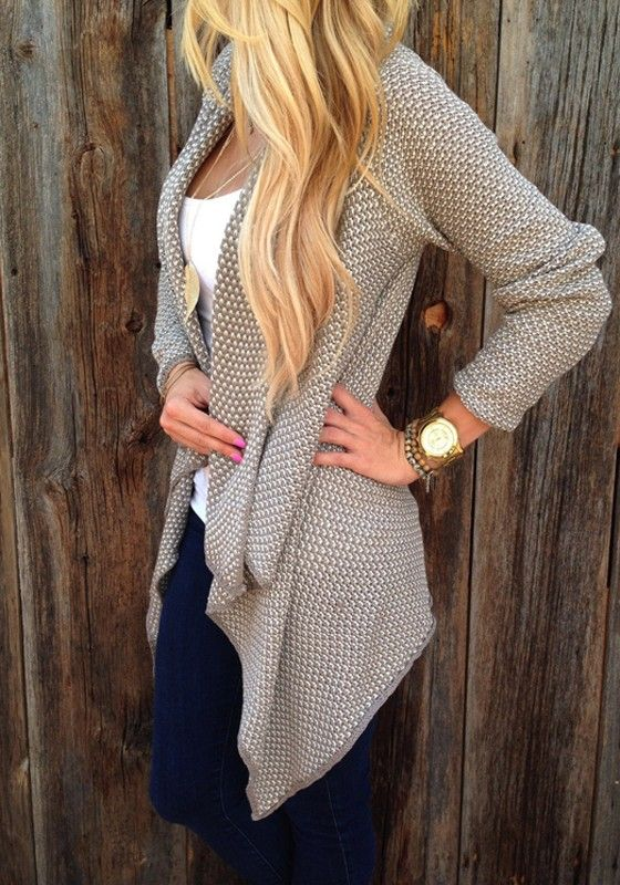 Apricot Plaid Draped Irregular Chunky Open Front Long Sleeve Loose ...
