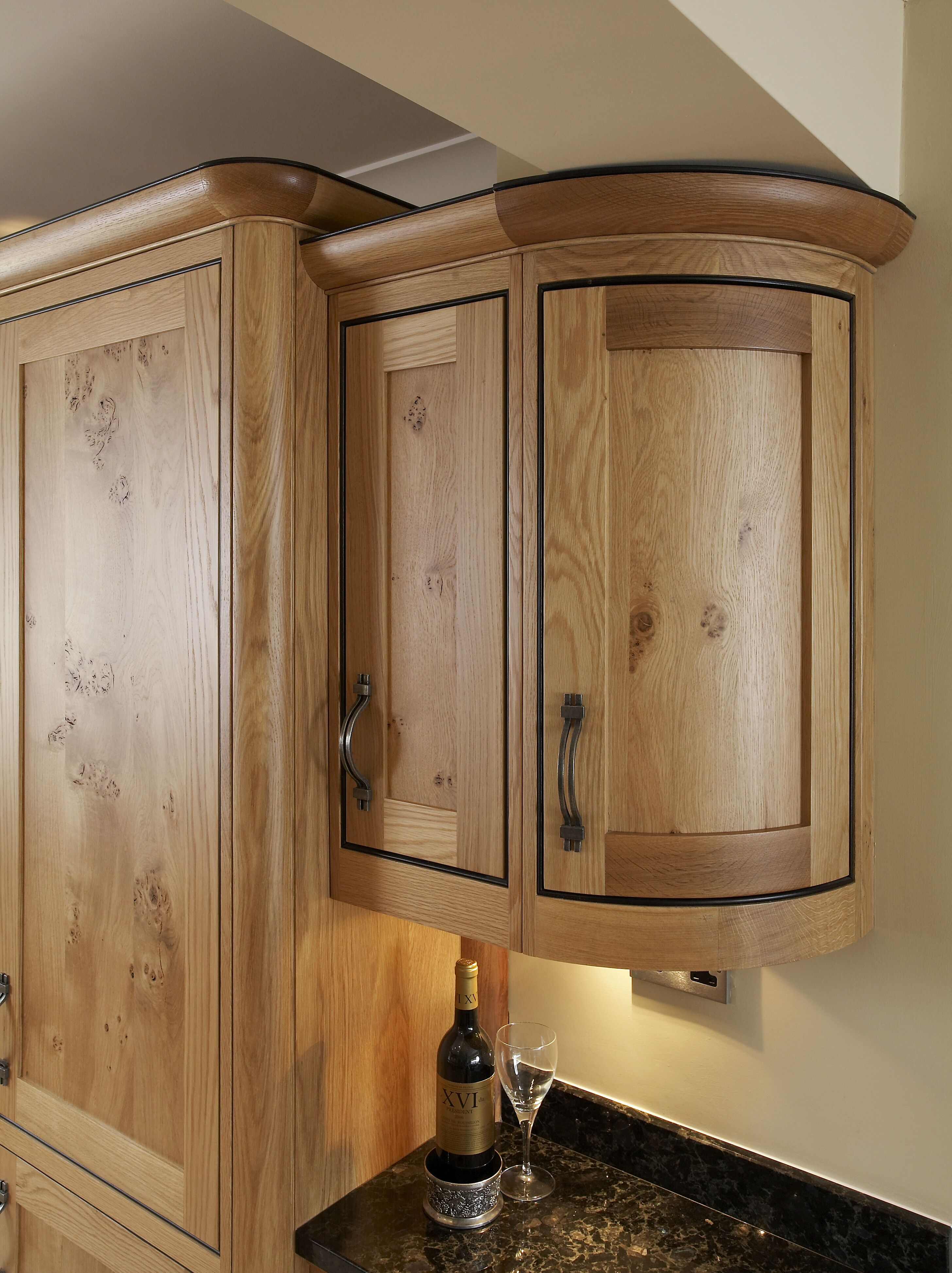 Bespoke solid character oak kitchen, solid oak curved doors ...