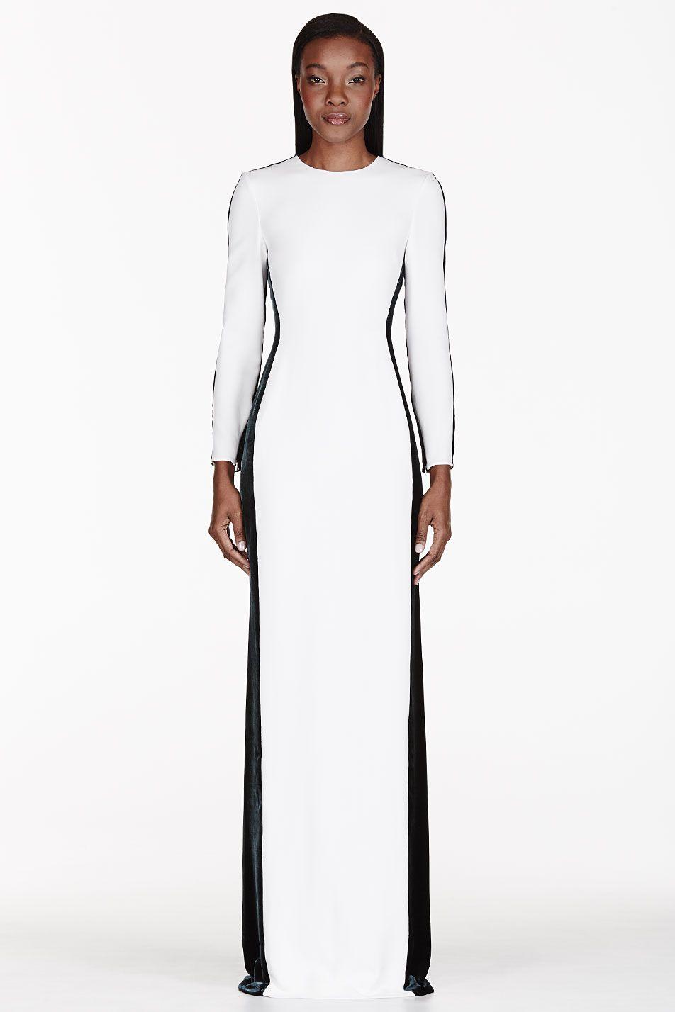Stella Mccartney White Dark Green Panelled Dress Dresses Fashion Police Gowns Dresses [ 1428 x 952 Pixel ]