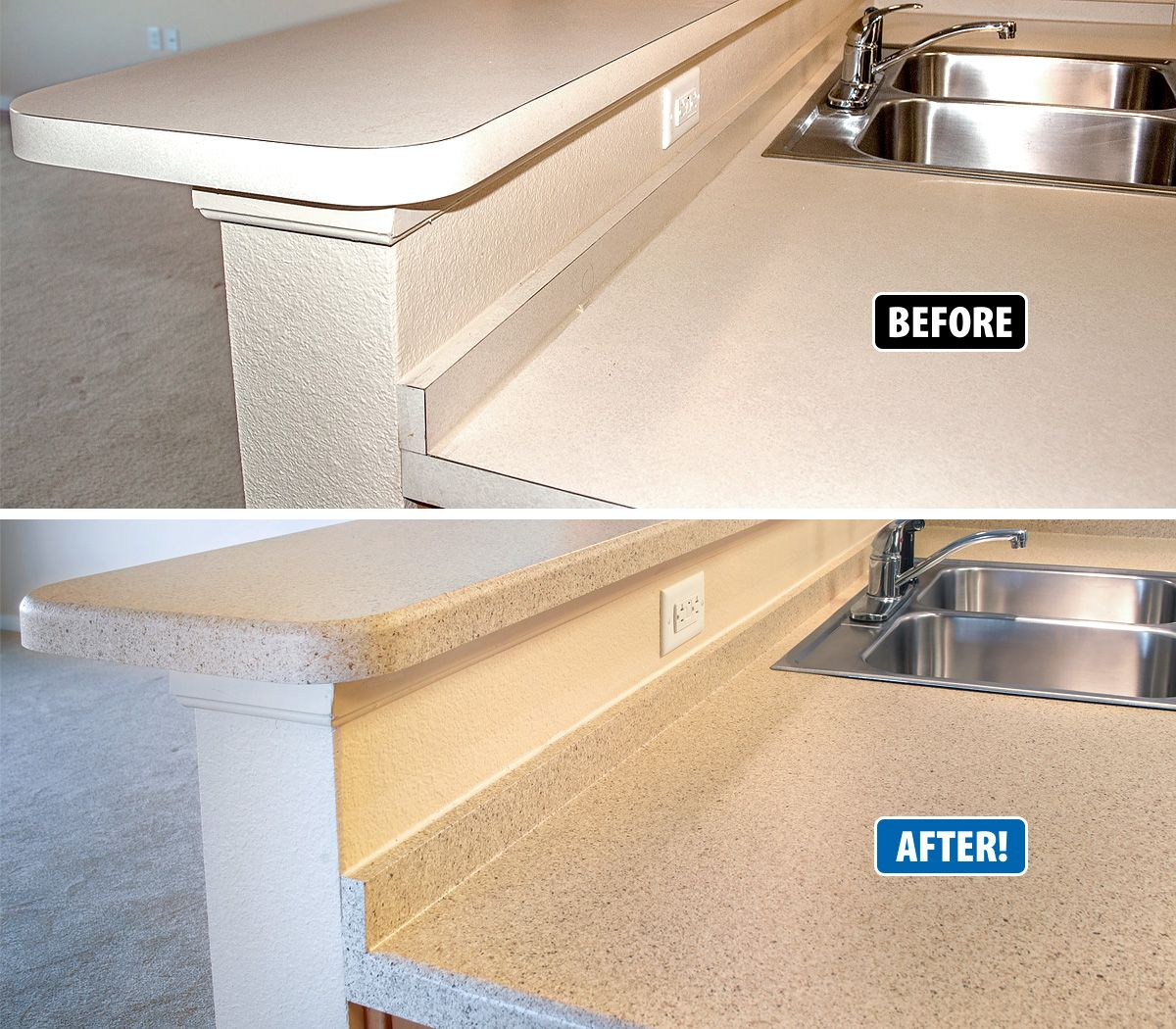 This Countertop Was Dated And Lacked Interest In Just Two Days Miracle Method Added A Beveled Edge And Refinish Countertops Countertops Resurface Countertops