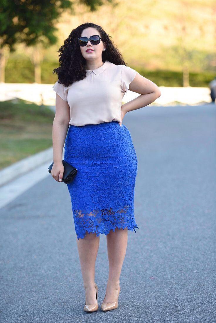 Chambray Shirt, Printed Scuba Pencil Skirt #thick #curvy \